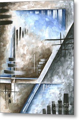 Abstract Original Art Contemporary Blue And Gray Painting By Megan Duncanson Blue Destiny IIi Madart Metal Print by Megan Duncanson