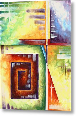 Abstract Original Art Contemporary Colorful Painting By Megan Duncanson Color Explosion II Madart Metal Print by Megan Duncanson