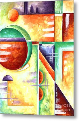 Abstract Original Art Contemporary Colorful Painting By Megan Duncanson Color Explosion Iv Madart Metal Print by Megan Duncanson