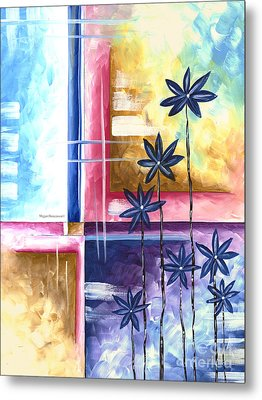 Abstract Original Art Contemporary Colorful Painting By Megan Duncanson Spring Fever II Madart Metal Print by Megan Duncanson