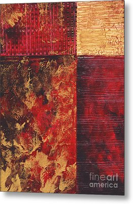 Abstract Original Painting Contemporary Metallic Gold And Red Texture Madart Metal Print by Megan Duncanson