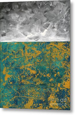 Abstract Original Painting Contemporary Metallic Gold And Teal With Gray Madart Metal Print by Megan Duncanson