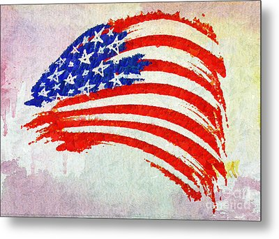 Abstract Painted American Flag Metal Print by Stefano Senise