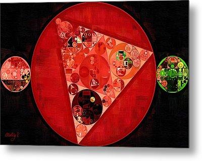 Abstract Painting - Mordant Red Round Metal Print by Vitaliy Gladkiy