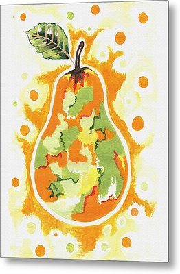 Metal Print featuring the painting Abstract Pear by Kathleen Sartoris