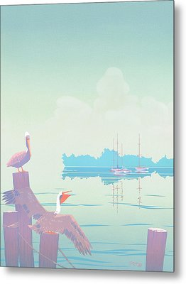 Abstract Pelicans Tropical Florida Seascape Sailboats Large Pop Art Nouveau 1980s Stylized Painting Metal Print by Walt Curlee