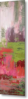 Abstract Pink And Green Metal Print