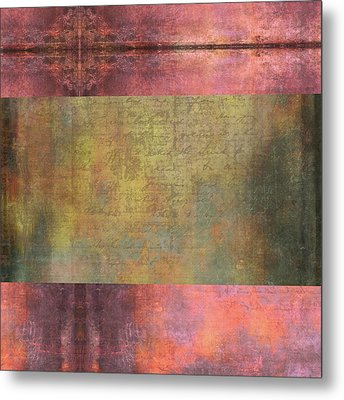Abstract Pink And Green Metallic Rectangle Metal Print by Brandi Fitzgerald