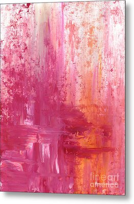 Abstract Pink And Orange Original Painting And Prints The Fire Within By Megan Duncanson Metal Print by Megan Duncanson