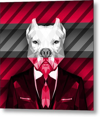 Abstract Pitbull 2 Metal Print by Gallini Design