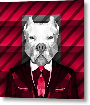 Abstract Pitbull 3 Metal Print by Gallini Design