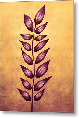 Abstract Plant With Pointy Leaves In Purple And Yellow Metal Print by Boriana Giormova