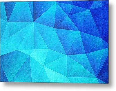 Abstract Polygon Multi Color Cubizm Painting In Ice Blue Metal Print