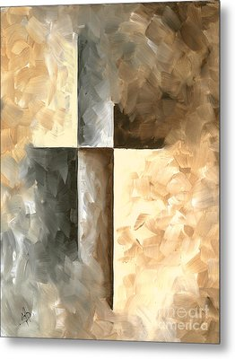 Abstract Pop Art Style Brown Gray Minimalist Painting Burnished II By Madart Metal Print