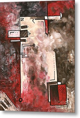 Abstract Pop Art Style Red Brown Silver Painting Contemporary Art By Madart Metal Print