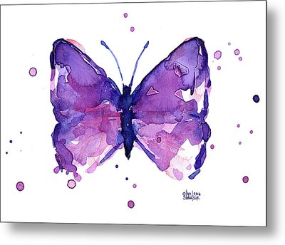 Abstract Purple Butterfly Watercolor Metal Print by Olga Shvartsur