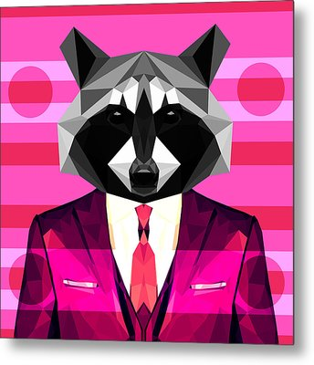 Abstract Raccoon Metal Print