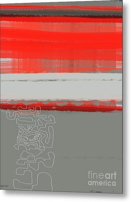 Abstract Red 1 Metal Print by Naxart Studio