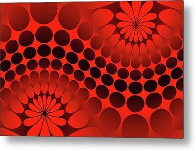 Abstract Red And Black Ornament Metal Print
