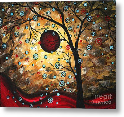 Abstract Red Moon Landscape Tree Art Terms Of Endearment By Megan Duncanson Metal Print by Megan Duncanson