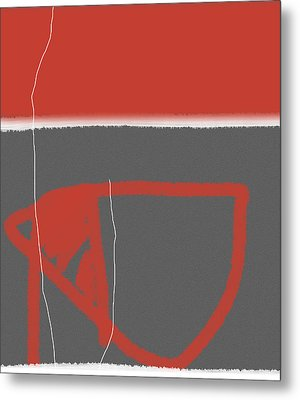 Abstract Red Metal Print by Naxart Studio