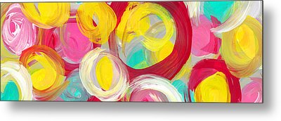 Abstract Rose Garden In The Morning Light Panoramic Metal Print by Amy Vangsgard