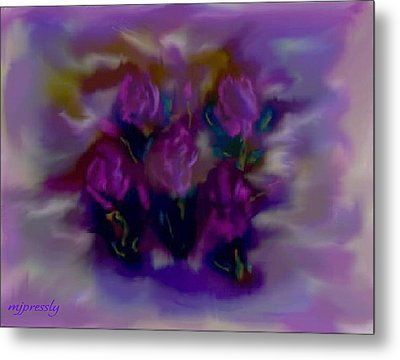 Abstract Roses Metal Print by June Pressly