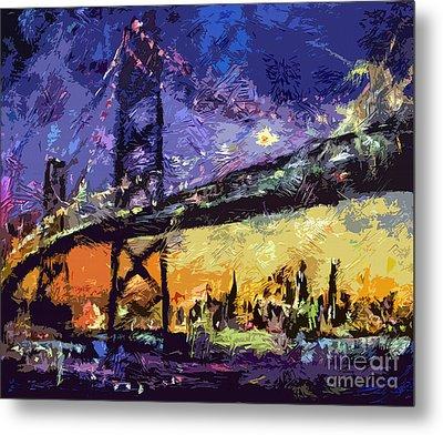 Abstract San Francisco Oakland Bay Bridge At Night Metal Print