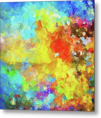 Metal Print featuring the painting Abstract Seascape Painting With Vivid Colors by Ayse Deniz