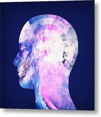 Abstract Space Universe  Galaxy Face Silhouette  Metal Print