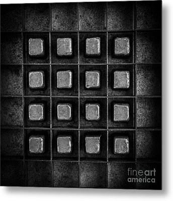 Abstract Squares Black And White Metal Print