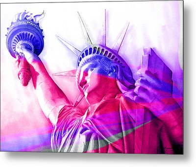 Metal Print featuring the painting Abstract Statue Of Liberty 7 by J- J- Espinoza