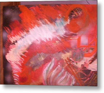 Abstract Study In Red  Metal Print by Anne-Elizabeth Whiteway