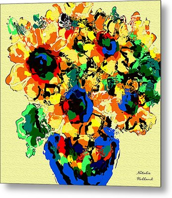 Abstract Sunflower Bouquet Metal Print by Natalie Holland