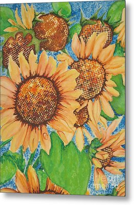 Metal Print featuring the painting Abstract Sunflowers by Chrisann Ellis