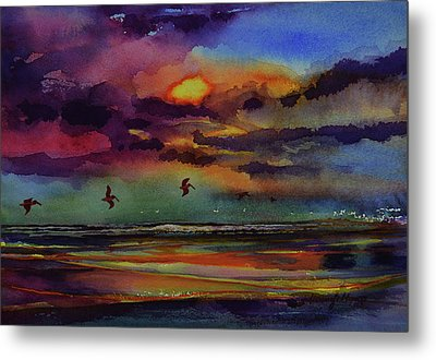 Abstract Beach Sunrise With Pelicans 7-10-17 Metal Print