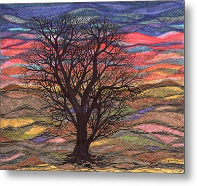 Abstract Sunset After Schiele Metal Print
