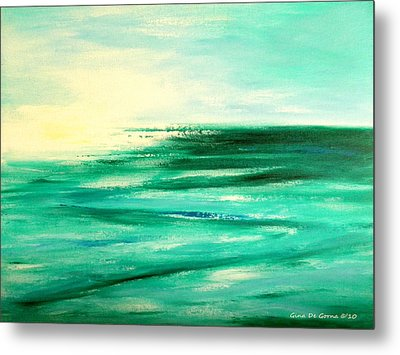 Abstract Sunset In Blue And Green Metal Print by Gina De Gorna
