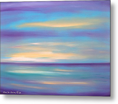Abstract Sunset In Purple Blue And Yellow Metal Print
