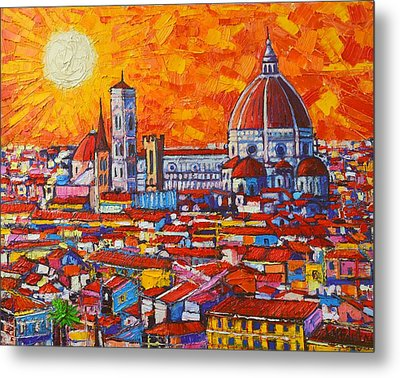 Abstract Sunset Over Duomo In Florence Italy Metal Print