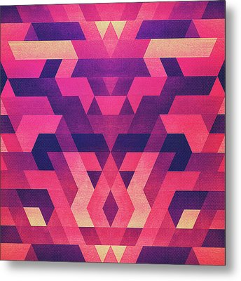 Abstract Symertric Geometric Triangle Texture Pattern Design In Diabolic Magnet Future Red Metal Print