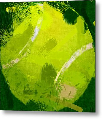 Abstract Tennis Ball Metal Print