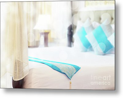 Metal Print featuring the photograph Abstract Thai Style Bedroom by Atiketta Sangasaeng