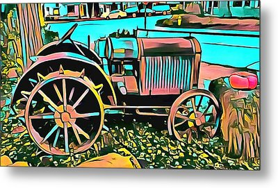 Metal Print featuring the digital art Abstract Tractor Los Olivos California by Floyd Snyder