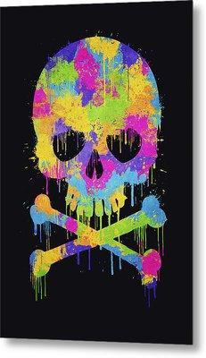 Abstract Trendy Graffiti Watercolor Skull  Metal Print by Philipp Rietz