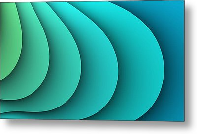 Abstract Turquoise Fractal Metal Print