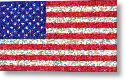 Abstract Usa Flag 3 Metal Print by Celestial Images