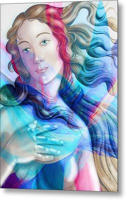 Metal Print featuring the painting Abstract Venus Birth 6 by J- J- Espinoza