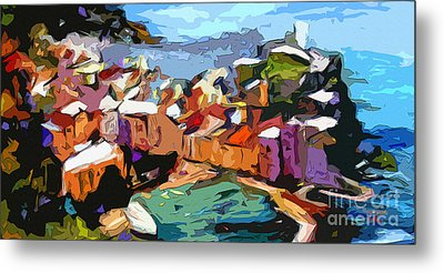 Abstract Vernazza Italy Cinque Terre Metal Print by Ginette Callaway
