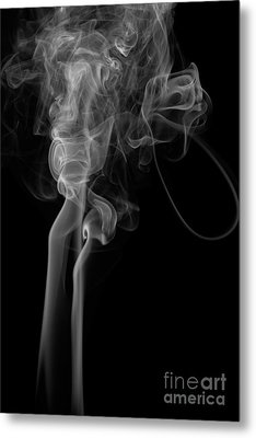 Abstract Vertical Monochrome White Mood Colored Smoke Wall Art 02 Metal Print by Alexandra K